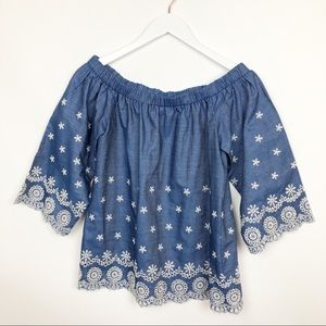 English Factory Boho Embroidered Top Off Shoulder